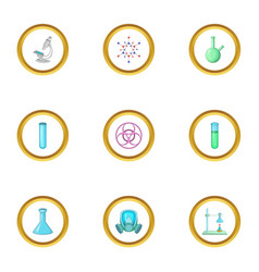 Dangerous research icons set cartoon style vector