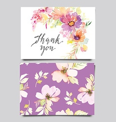 Decorative card Flowers painted in watercolor Hand vector image