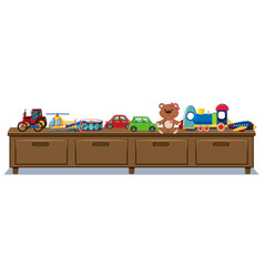 Different toys on wooden drawers vector