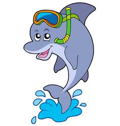 Dolphin snorkel diver vector