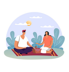 family at summer picnic or man and woman at date vector image