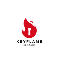 fire flame key logo icon vector image