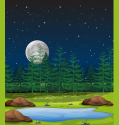 Forest at night scene vector