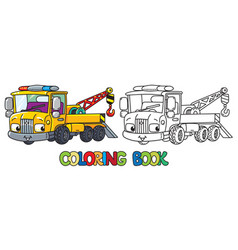 Funny small tow truck with eyes coloring book vector