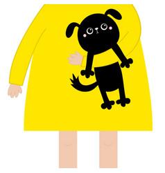 Girl holding black dog puppy cute cartoon kawaii vector