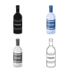 Glass bottle of vodka icon in cartoon style vector