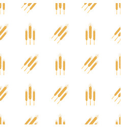 Golden bread spikes from field seamless patern vector