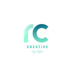 Green gradient pastel modern rc r c alphabet vector