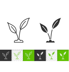 green leaves simple black line icon vector image