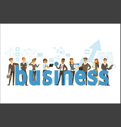 group of smiling office people holding the word vector image