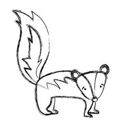 Grunge cute and sad skunk wild animal vector
