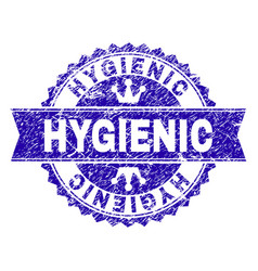 Grunge textured hygienic stamp seal with ribbon vector
