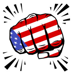 Hand drawn fist - american flag fist on white vector