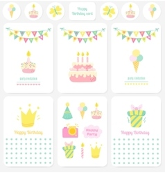 Happy Birthday cards notes stickers tags vector