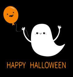 happy halloween flying baghost spirit holding vector image