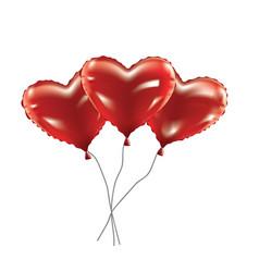 Heart foil balloons vector