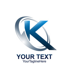 Initial letter k logo template colored blue grey vector