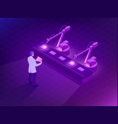 isometric industrial robot working in factory man vector image