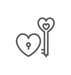 key with heart lock valentine day line icon vector image