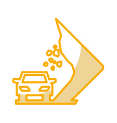 Landslides on the road traffic signal icon vector