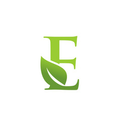 Letter e leaf nature logo vector