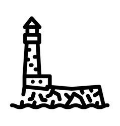 Lighthouse island line icon vector