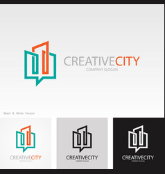 Line building creative logo vector