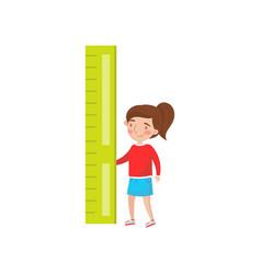 little girl holding giant ruler preschool vector image