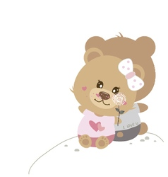 Love concept of couple teddy bear doll vector image