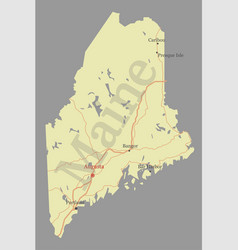 Maine detailed exact detailed state map with vector
