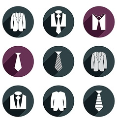 Man business clothes icons set vector image