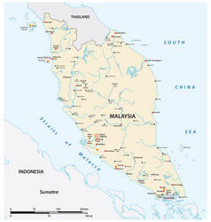 Map malay peninsula malaysia vector