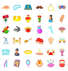 marital life icons set cartoon style vector image