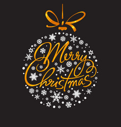 merry christmas handwritten lettering vector image