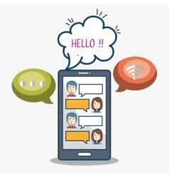 mobile chat group character smartphone graphic vector image