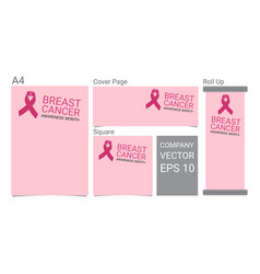 mock up realistic breast cancer icon with pink vector image