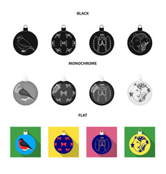 New year toys black flat monochrome icons in set vector