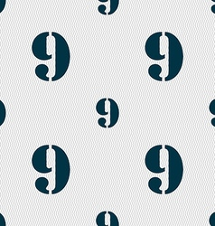 number Nine icon sign Seamless abstract background vector image