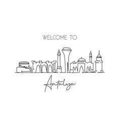 One single line drawing antalya city skyline vector