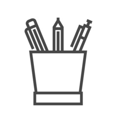 Pencil Stand Line Icon vector image