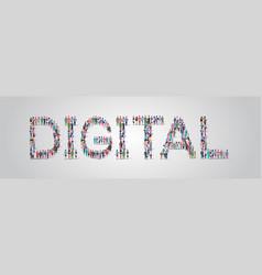 people crowd gathering in shape digital word vector image