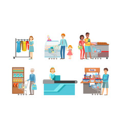 people shopping at supermarket set men and vector image