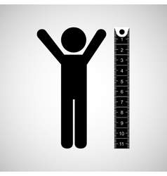 person and measuring tape vector image