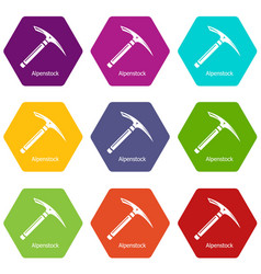 pickaxe icons set 9 vector image