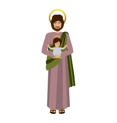 Picture saint joseph with baby jesus vector
