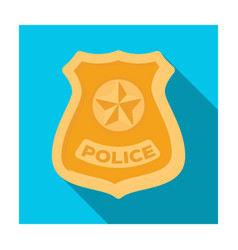 police badge icon in flat style isolated on white vector image