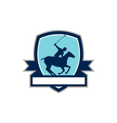 Polo Player Riding Horse Crest Retro vector