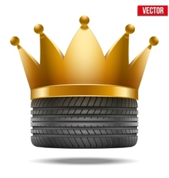 Realistic rubber tire with a golden crown vector image