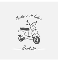Rent sale repair - bicycles mopeds and scooters vector image