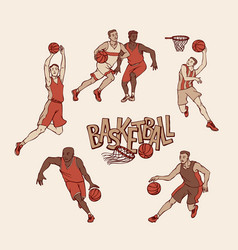 Retro basketball players in sports uniform vector